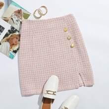 Tweed Rock mit Karo Muster, Knopfen vorn und Schlitz