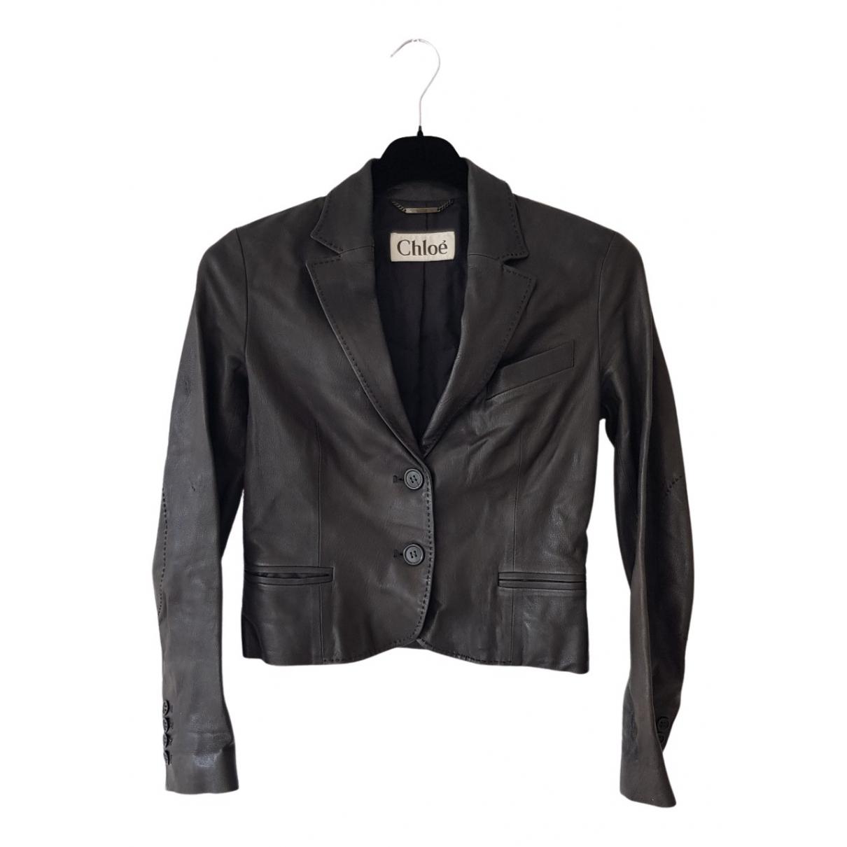 Chloe - Veste   pour femme en cuir - noir