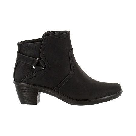 Easy Street Womens Dawnta Booties Block Heel, 7 1/2 Medium, Black