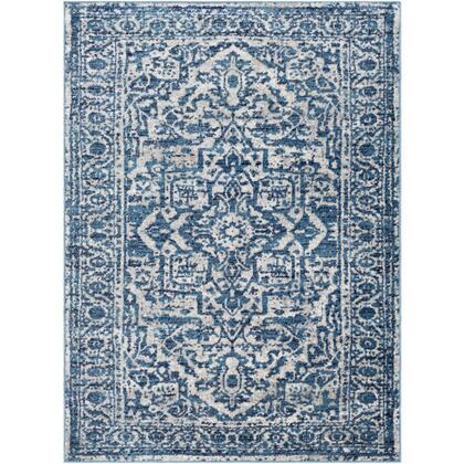 Monte Carlo MNC-2302 9' x 12' Rectangle Traditional Rug in Sky Blue  Light Gray  White