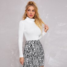 Turtle Neck Textured Knit Top