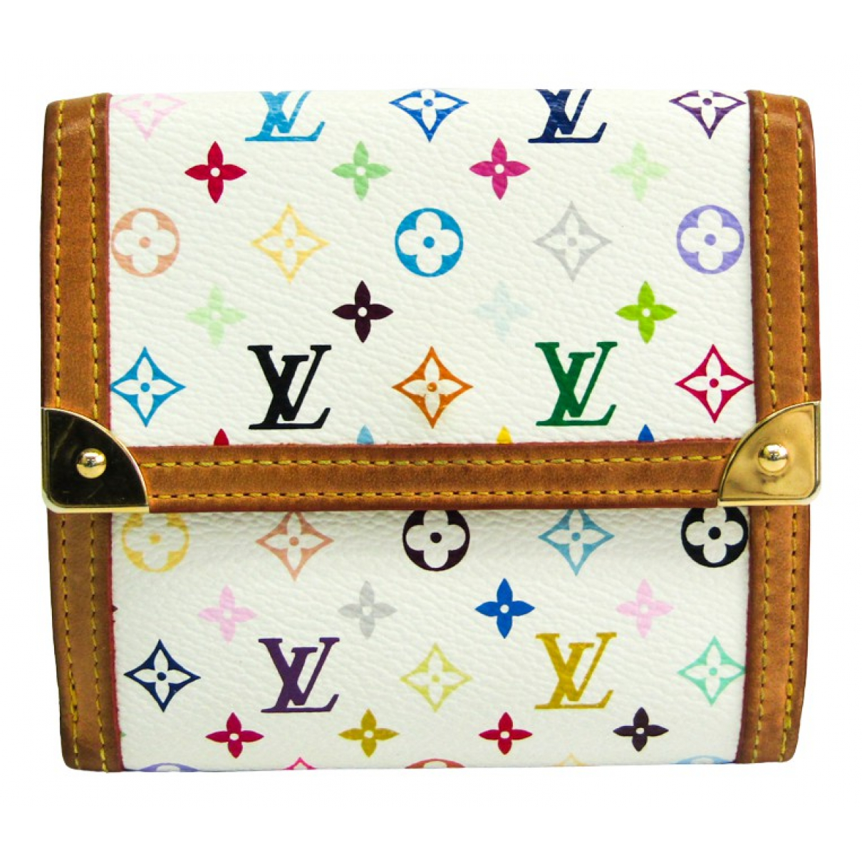 Louis Vuitton \N Portemonnaie in  Weiss Leinen