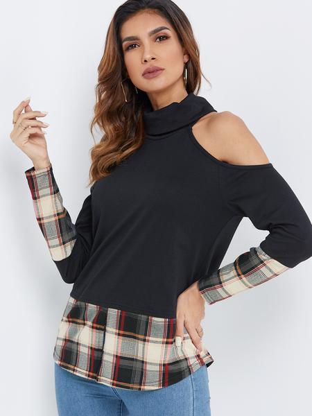 Yoins Black Turtleneck Cold Shoulder Long Sleeves T-shirt