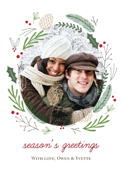 Holiday Photo Cards 5x7 Cards, Premium Cardstock 120lb, Card & Stationery -Forest Wreath Greetings