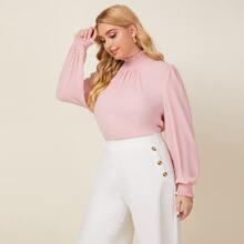 Plus Shirred Frill Neck Solid Blouse