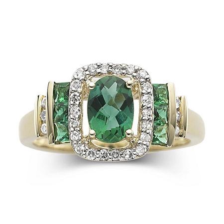 1/7 CT. T.W. Diamond & Genuine Emerald 10K Gold Ring, 8 , No Color Family