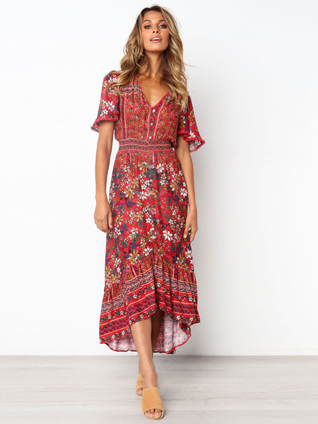 Milanoo Bohemian Maxi Dresses Floral Print V Neck Short Sleeves Oversized Summer Dress