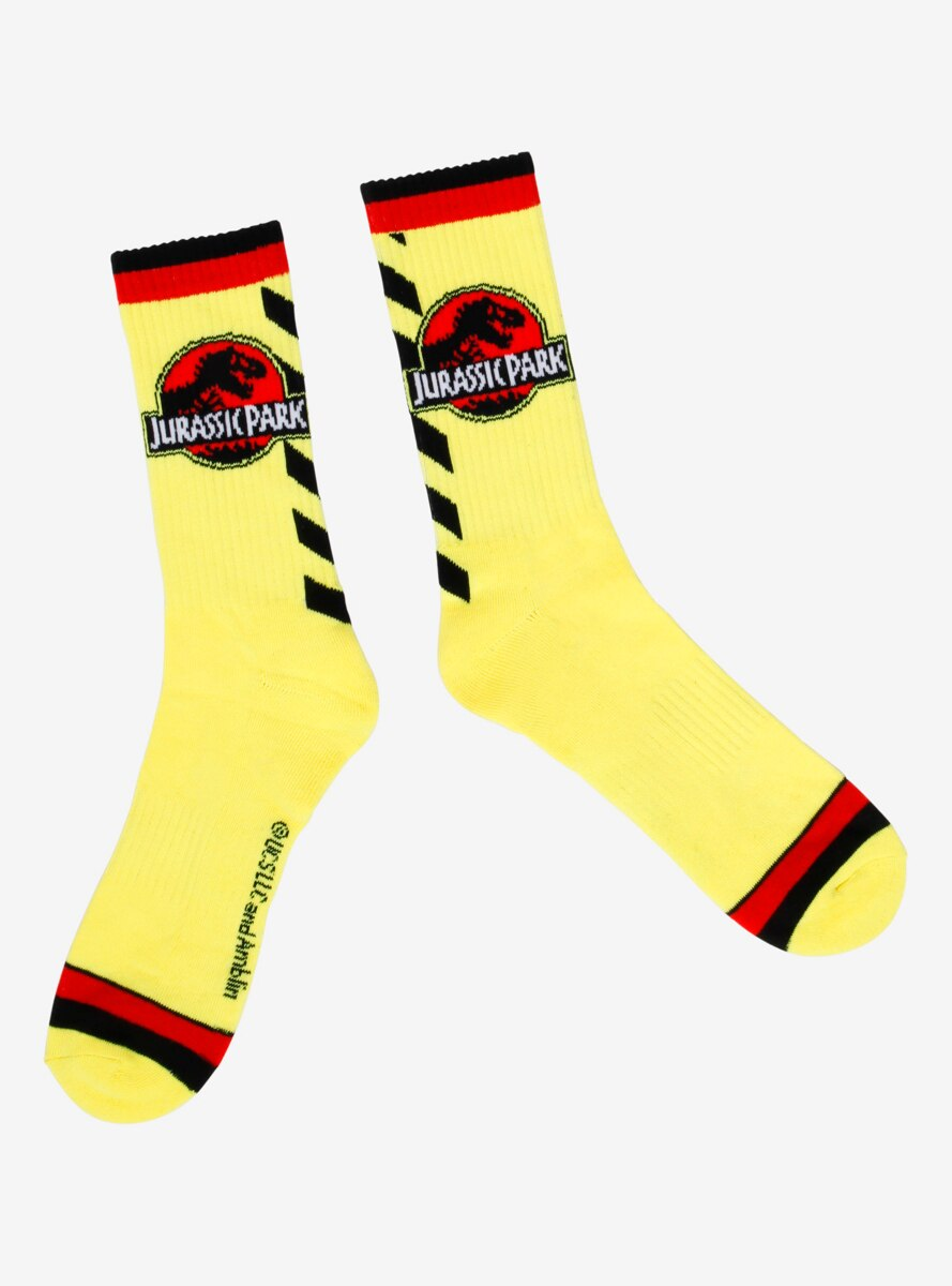 Jurassic Park Caution Stripe Tape Crew Socks - BoxLunch Exclusive