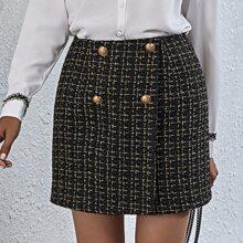 Falda recta tweed con botones