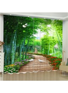 3D Wooden Road with Flowers and White Doves Printed Custom Curtain for Living Room