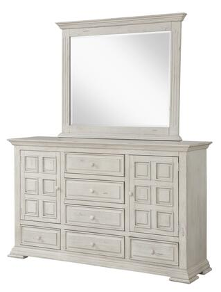 Avondale Collection AV400-DR Dresser with 6 Drawers and 2 Storage Cabinets in White