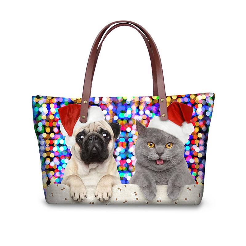 Christmas with Dog Cat Waterproof 3D Printed Shoulder Handbag