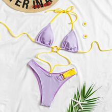 Ring Linked Triangle Halter Bikini Swimsuit