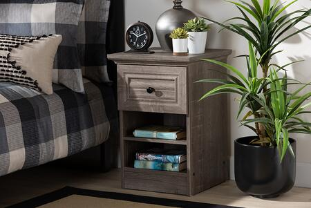 Dara Collection MH5079-TOROOAK-NS Nightstand with Transitional Style and Particle Board Frame Construction in Grey and Brown and Black
