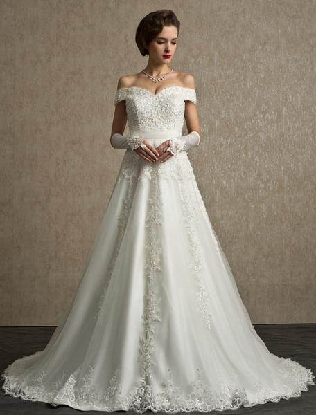 Milanoo Vestido de novia de tul con escote de hombros caidos y faja de cola larga