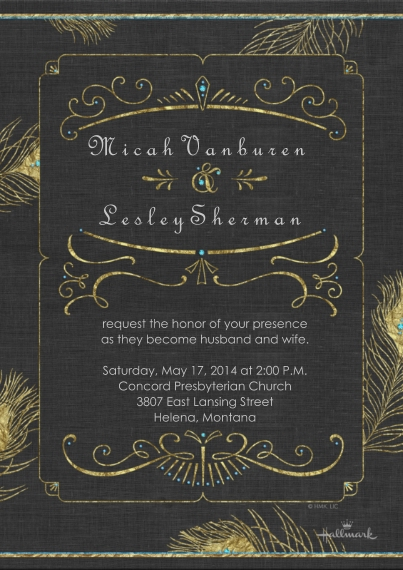 Wedding Invitations Flat Matte Photo Paper Cards with Envelopes, 5x7, Card & Stationery -Art Deco Invitation