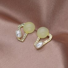 Faux Pearl Decor Geo Earrings