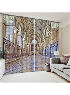 3D Magnificent Palace Printed 2 Panels Custom Shading Curtain for Living Room