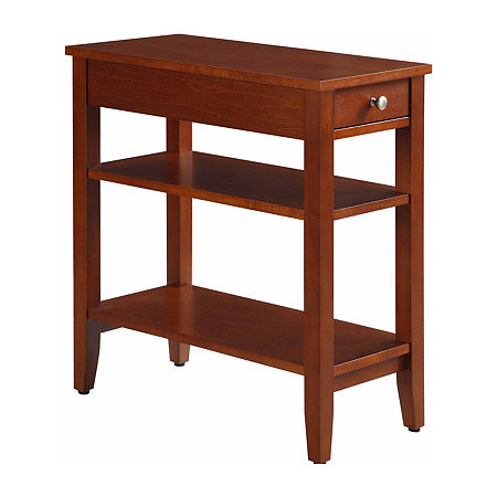 American Heritage 3-Tier End Table with Drawer, One Size , Red