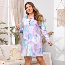 Plus Lace Up Front Tie Dye Hooded Night Dress