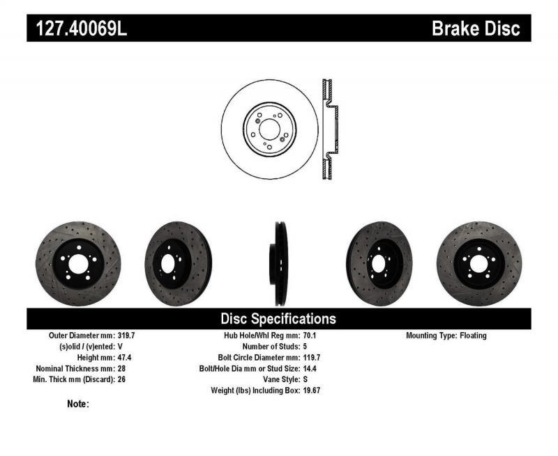 StopTech 127.40069L Sport Drilled/Slotted Brake Rotor; Front Left Honda Ridgeline Front Left 2006-2014