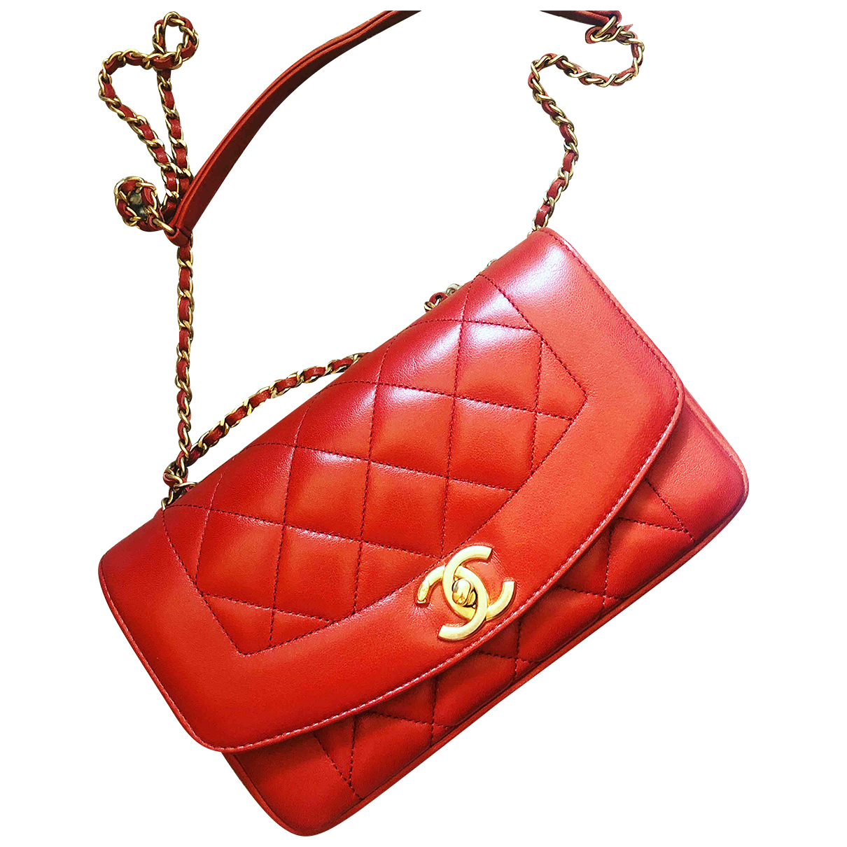 Chanel Diana Red Leather handbag for Women N