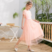 Girls 3D Floral Applique Bodice Mesh Overlay Dress