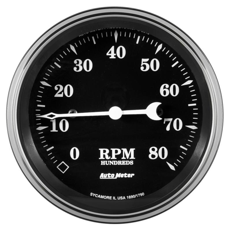 AutoMeter GAUGE; TACHOMETER; 3 3/8in.; 8K RPM; IN-DASH; OLD TYME BLACK