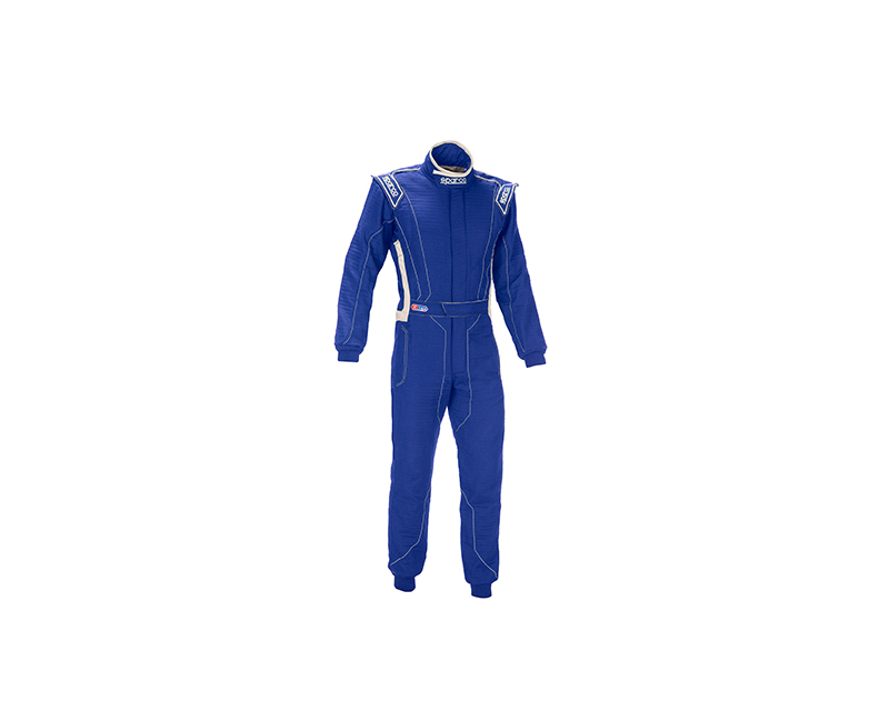 Sparco 001129H56AZ Victory RS-4 Standard Cuff Blue and White Racing Suit 56 | L
