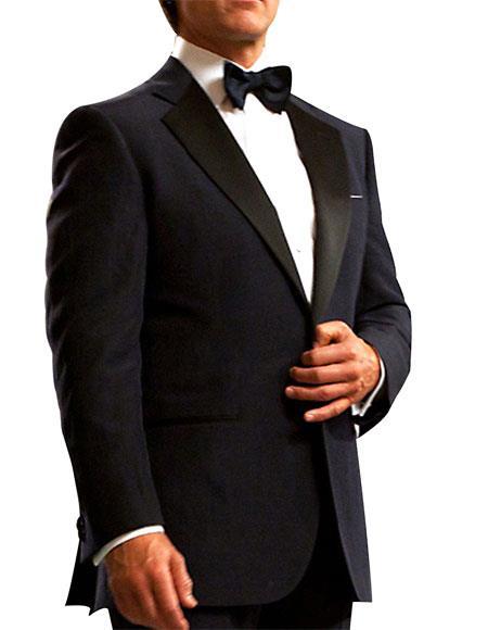 Men's Navy Blue Single Breasted 1 Button Notch Lapel Tuxedo Suit