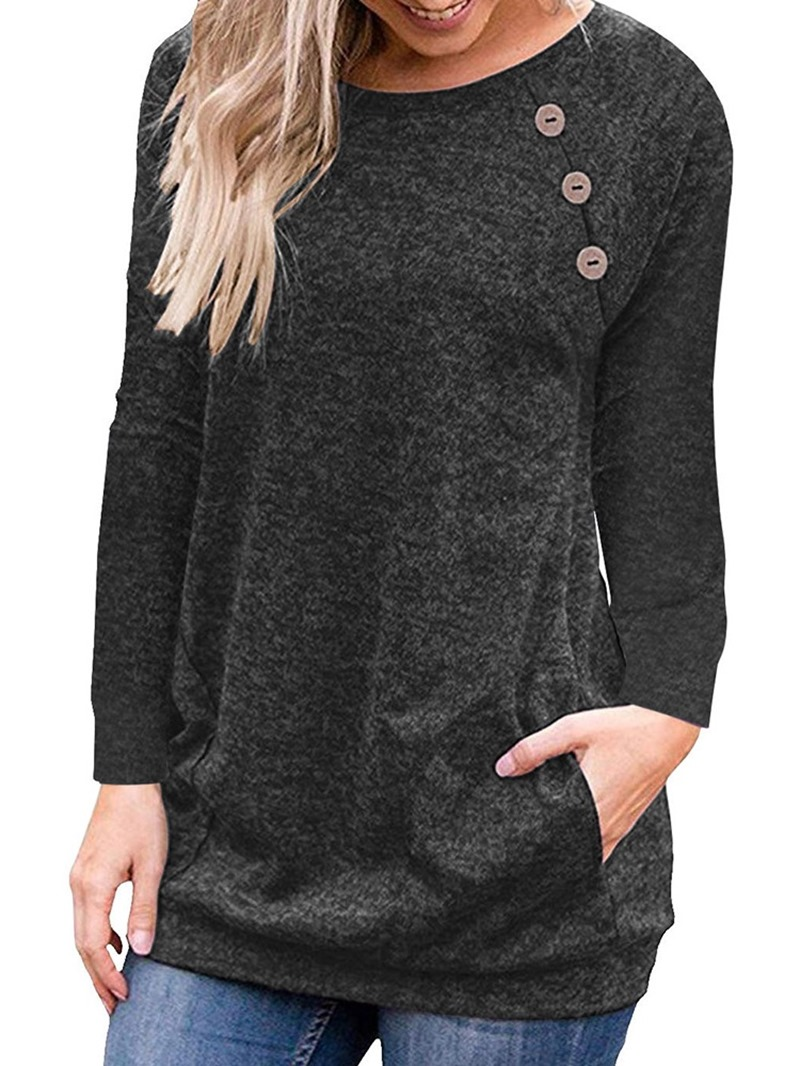 Ericdress Round Neck Long Sleeve Plain Loose Fall T-Shirt