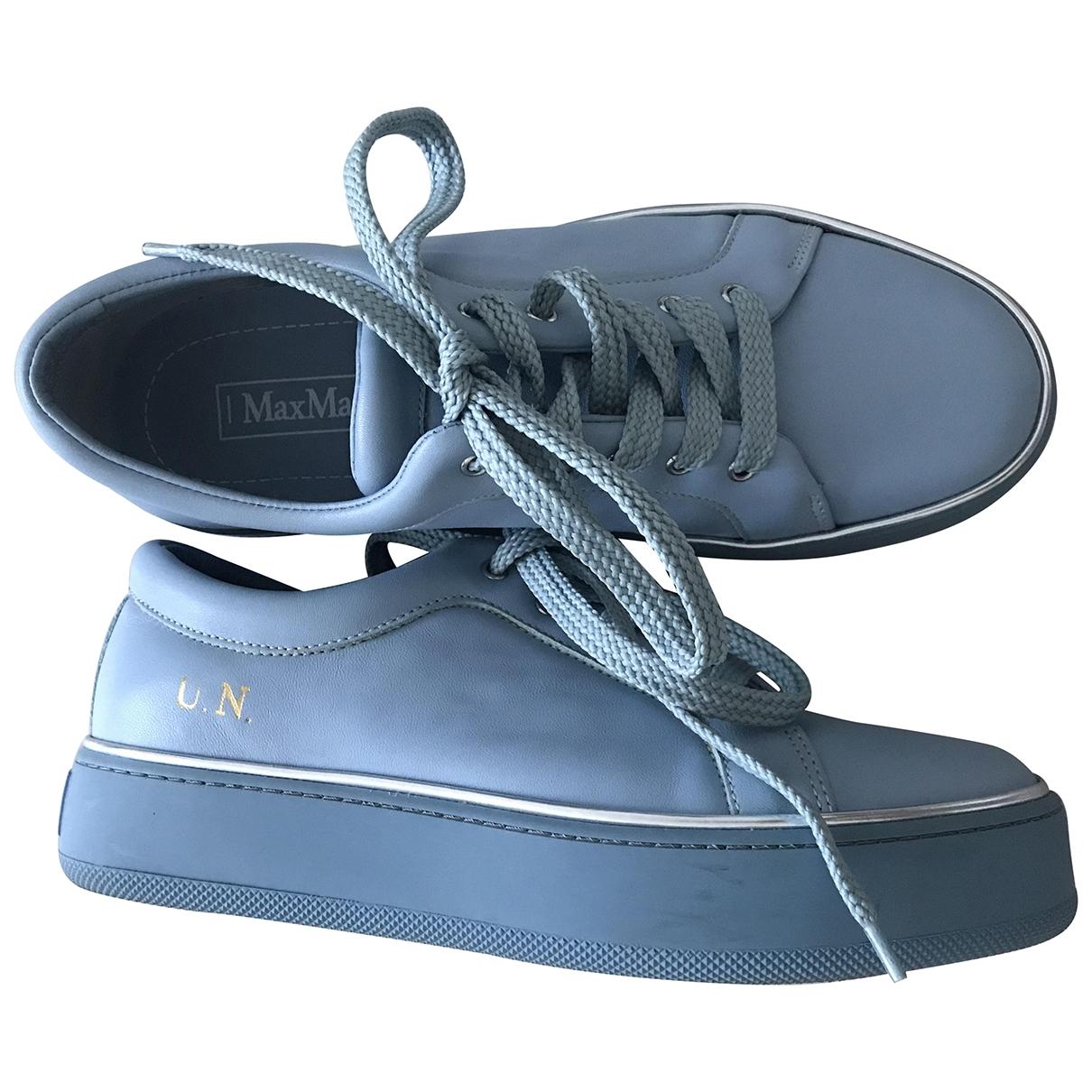 Max Mara N Blue Leather Trainers for Women 37 EU