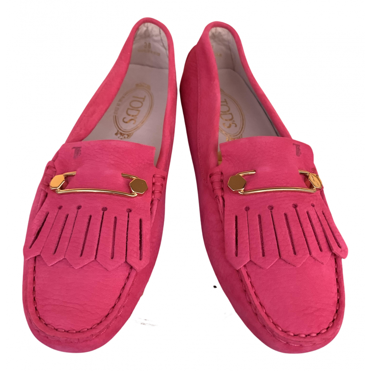 Tod's Gommino Pink Suede Flats for Women 38 EU