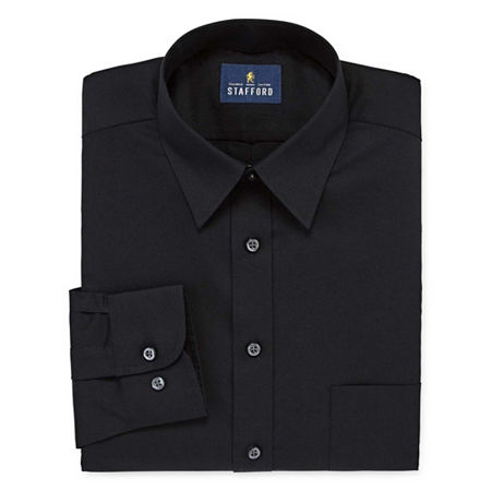 Stafford Mens Wrinkle Free Stain Resistant Stretch Super Shirt Big and Tall Dress Shirt, 16.5 36-37, Black