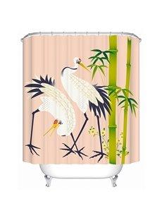 Chinese Style White Crane Print 3D Bathroom Shower Curtain