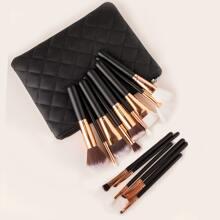 15pcs Duo-fiber Makeup Brush Set With Bag