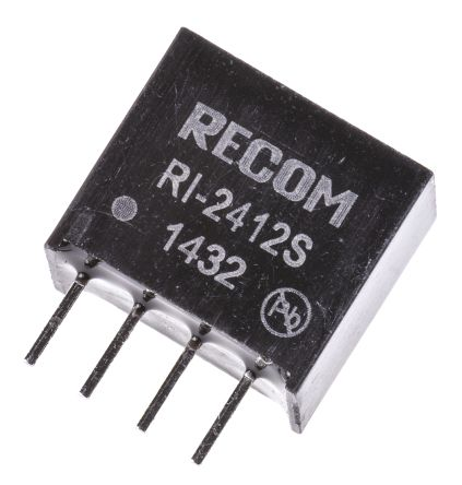 Recom RI 2W Isolated DC-DC Converter Through Hole, Voltage in 21.6 ? 26.4 V dc, Voltage out 12V dc