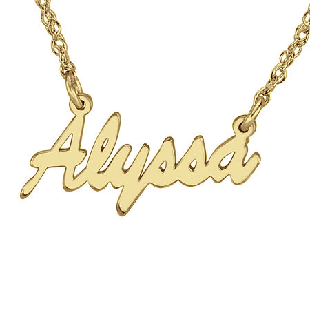 Personalized 14K Gold Over Sterling Silver Name Necklace, One Size , Yellow
