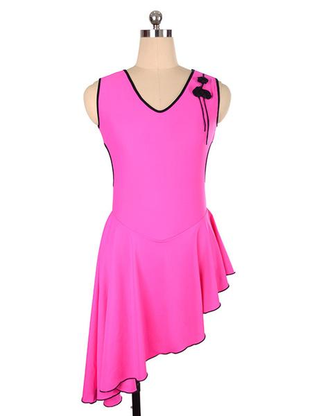 Milanoo Vestido de patinaje Rosa Poliester Bodycon Trajes de baile