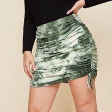 Plus Drawstring Side Tie Dye Skirt