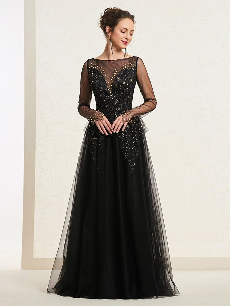 Ericdress A-Line Long Sleeve Starring Black Prom Dress