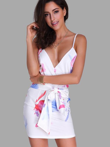 Yoins Random Print V-neck Sleeveless Self-tie Mini Dress with Zip Back Fastening