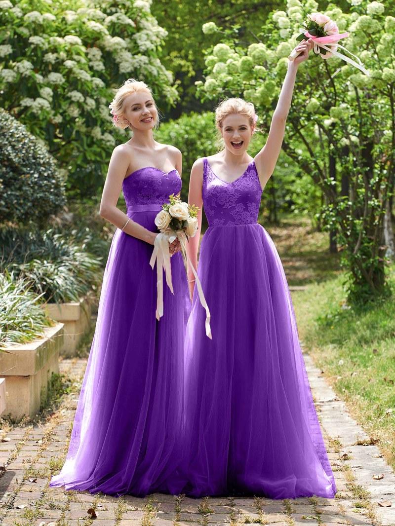Ericdress Sweetheart A Line Long Lace Bridesmaid Dress