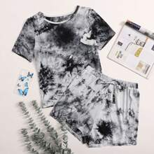 Plus Tie Dye Tee With Knot Shorts