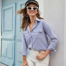 Bluse mit Streifen, Taschen Klappe und Knopfen