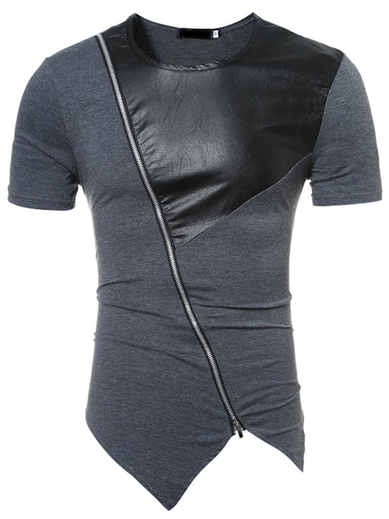 Ericdress Round Neck Short Sleeve PU Patch Men's T-Shirt