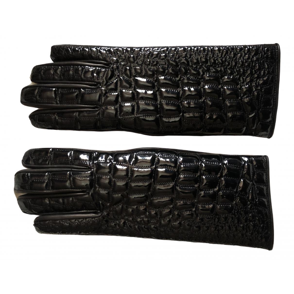 Versace - Gants   pour femme en cuir verni - noir