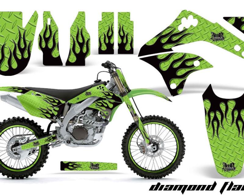 AMR Racing Graphics MX-NP-KAW-KX450-06-08-DF K G Kit Decal Sticker Wrap + # Plates For Kawasaki KXF450 2006-2008 DIAMOND FLAMES BLACK GREEN