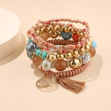 5pcs Tassel & Tree Charm Beaded Bracelet