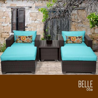 BELLE-05a-ARUBA Belle 5 Piece Outdoor Wicker Patio Furniture Set 05a with 2 Covers: Wheat and